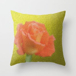 gold,single rose bloom in small mosaic on a colored background of small hexagons Throw Pillow