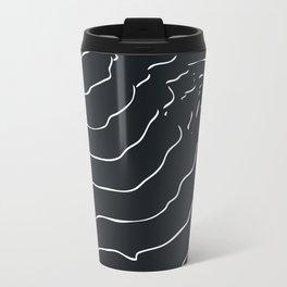 Black and white Mountain contour lines Travel Mug