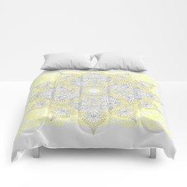 Sunny Doodle Mandala in Yellow & Grey Comforters