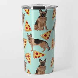German Shepherd pizza party dog person gifts pet portraits dog breeds cheesy pizzas Travel Mug