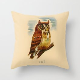Owl Painting Throw Pillow