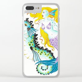 Mermaid And Seahorse Watercolor,Ink Art Clear iPhone Case