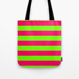 Bright Neon Green and Pink Horizontal Cabana Tent Stripes Tote Bag