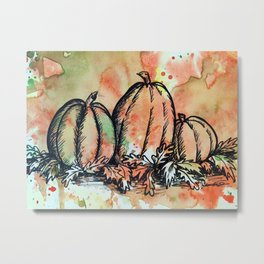 Pumpkin Trio Metal Print