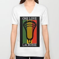 lacrosse V-neck T-shirts featuring Lacrosse OneLove by YouGotThat.com