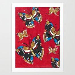 Red Folk Butterflies Art Print