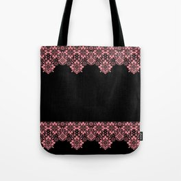 Retro .Vintage . Pink lace on a black background . Tote Bag