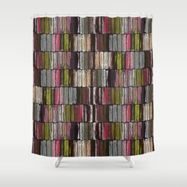 Colored Weathered Wood Board Panel Shower Curtain
