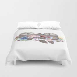 Sea Otters Holding Hands, Love Art Duvet Cover