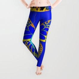 Lapis Blue & Gold Monarch Western Art design Leggings