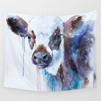 cow Wall Tapestries featuring Cow by Slaveika Aladjova