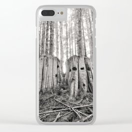 Nurse Stump Pacific Northwest Forest Cedar Trees Sepia Print Clear iPhone Case