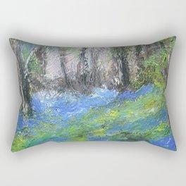 Bluebells English Woodland Landscape Acrylics On Canvas Rectangular Pillow