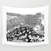 vermont Wall Tapestries featuring Zentangle Vermont Landscape Black and White Illustration by Vermont Greetings