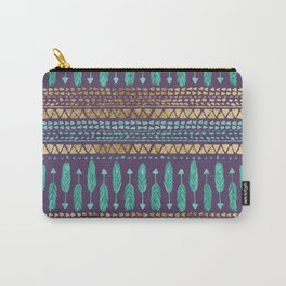 Gold Teal and Purple Arrows Tribal Aztec Pattern Carry-All Pouch