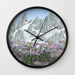 PURPLE DAISIES TALL MOUNTAIN PEN DRAWING PHOTO HYBRID Wall Clock