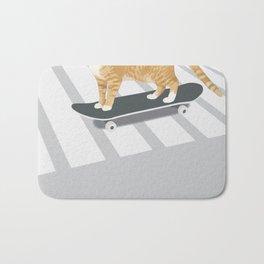 Skateboarding cat Bath Mat