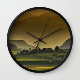 Mountain Farmland of Switzerland Wall Clock