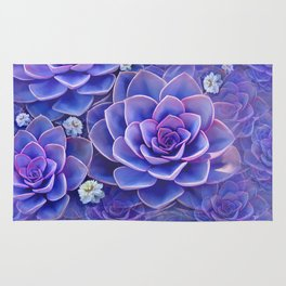 """Bouquet of pastel violet exotic succulents"" Rug"