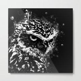 burrowing owl splatter watercolor black white Metal Print