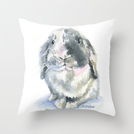 Gray and White Lop Rabbit Throw Pillow