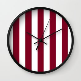 Oxblood red - solid color - white vertical lines pattern Wall Clock