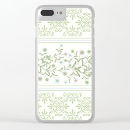Delicate floral pattern with decorative bands. Clear iPhone Case