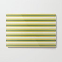 Off White, Dark Yellow and Tropical Dark Teal Inspired by Sherwin Williams 2020 Trending Color Oceanside SW6496 Stripes Thick and Thin Horizontal Line Pattern Metal Print