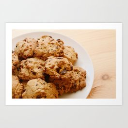 Chocolate chip and pecan cookies Art Print