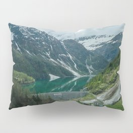 italy alps mountain snow camping vanlife village drone aerial roadtrip lake water Pillow Sham