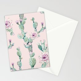 Cactus Rose Pattern on Pink Stationery Cards