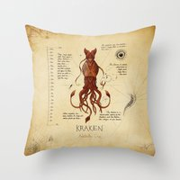 kraken Throw Pillows featuring Kraken by Laurence Andrew Page Illustrator