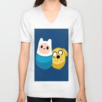 finn and jake V-neck T-shirts featuring  Finn and Jake by Mayying