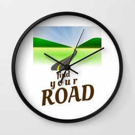 Find Your Road Not Taken or Less Traveled Prints Map Goes On Forever Wall Clock