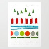 Trees, Snow & Baubles Art Print