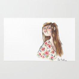 Jeune fille à fleurs Rug