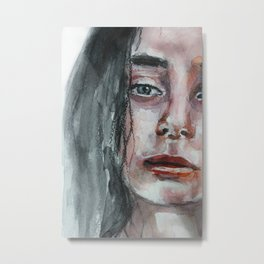 Watercolor portrait, art work, beautiful original girl, painting, modern Metal Print