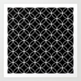 Circles Crossing - Black Art Print