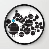 robot Wall Clocks featuring robot by alex eben meyer