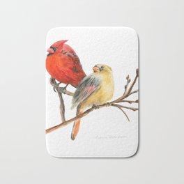 The Perfect Pair - Male and Female Cardinal by Teresa Thompson Bath Mat