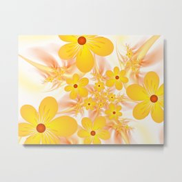 Yellow Flowers, Fractals Art Metal Print