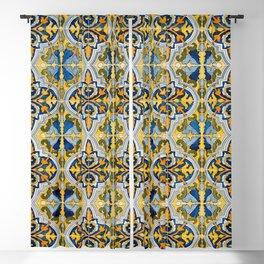 Seamless Floral Pattern Ornamental Tile Design : 4 -blue, Blackout Curtain