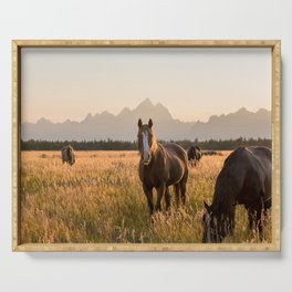 Horses Grazing Below the Tetons Serving Tray