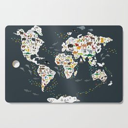 Cartoon animal world map for kids, back to schhool. Animals from all over the world Cutting Board