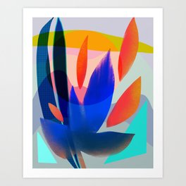 Shapes and Layers no.14 - leaves grid flames sun Art Print