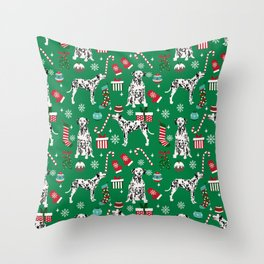 Dalmatian dog breed christmas holiday presents candy canes dalmatians dogs Throw Pillow