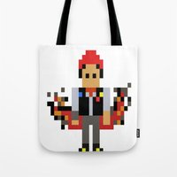infamous Tote Bags featuring Pixel Delsin Rowe (infamous) by 8 BITE