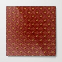 Gold Ek Onkar / Ik Onkar pattern on red Metal Print