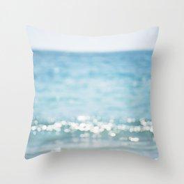 Beach Ocean Photography Art, Blue Coastal Photo, Aqua Seascape Photograph, Waves Art Throw Pillow