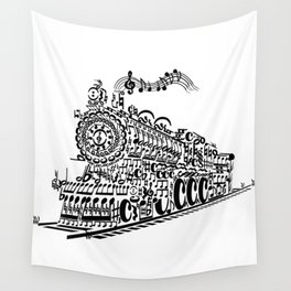 Musical Train (Steam Train) Silhouette Art Wall Tapestry